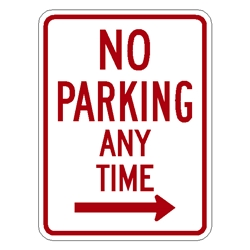 "No Parking Anytime Sign w/ RIGHT ARROW R7-1R 18""x12"" R7-1R,No-Parking-Anytime-Sign-w/Right-Arrow,municipal-sign"